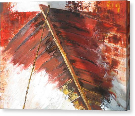 'boat In  Storm' Canvas Print by Marina Harris
