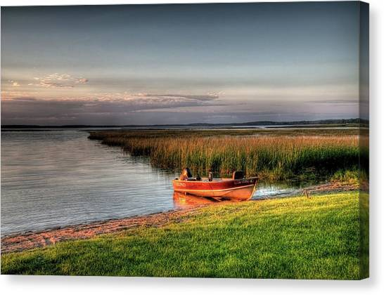 Boat On A Minnesota Lake Canvas Print