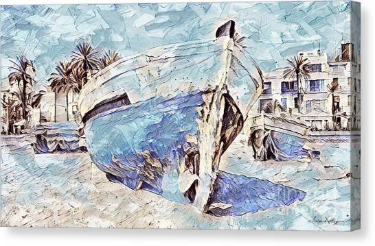 Boat On Sand Of A Beach Shore Canvas Print