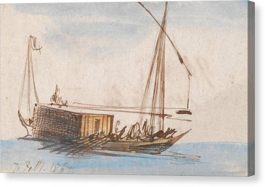 The Nile Canvas Print - Boat On The Nile by Edward Lear