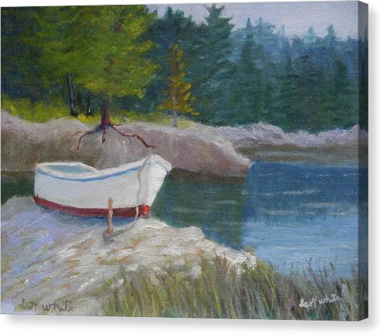 Boat On Tidal River Canvas Print