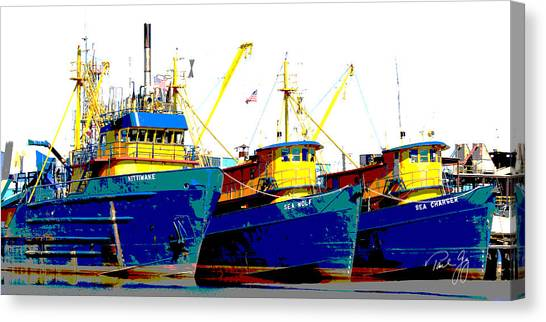 Boat Series 12 Fishing Fleet 2 Empire Canvas Print