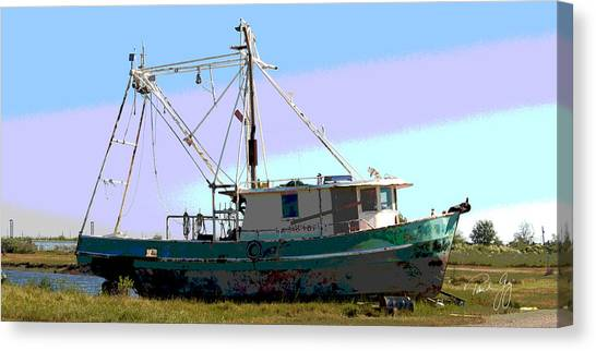 Boat Series 5 West Pointe A La Hache 2 Grounded Canvas Print by Paul Gaj