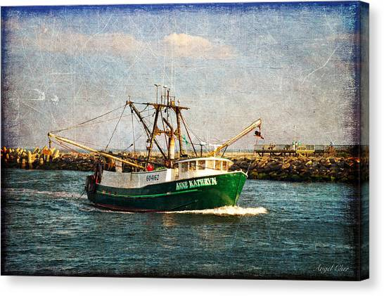 Canvas Print featuring the photograph Boat Texture Manasquan Inlet by Angel Cher