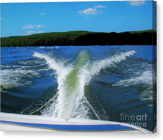 Canvas Print featuring the photograph Boat Wake by Patti Whitten
