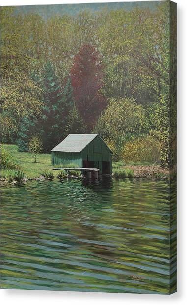 Boathouse On Langwater Pond Canvas Print