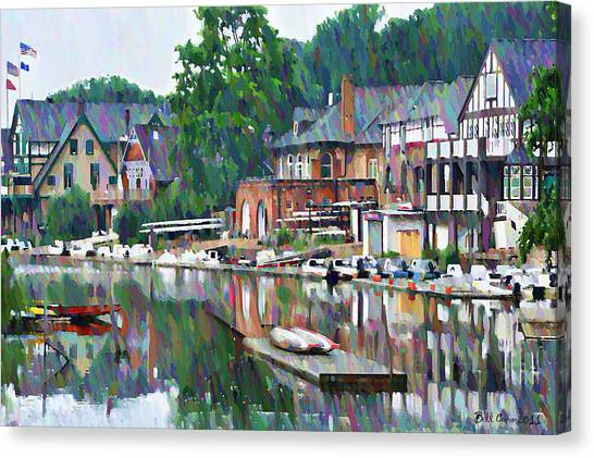 Coastal Art Canvas Print - Boathouse Row In Philadelphia by Bill Cannon