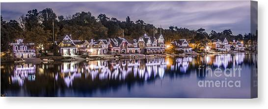 Boathouse Row Night Blue Canvas Print