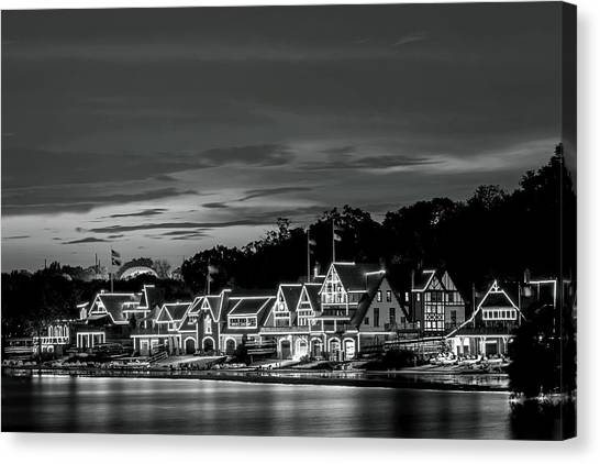 Boathouse Row Philadelphia Pa Night Black And White Canvas Print