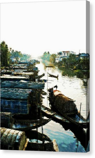 Boathouses In Vietnam Canvas Print