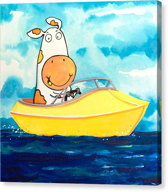 Water Skis Canvas Print - Boating Cow by Scott Nelson