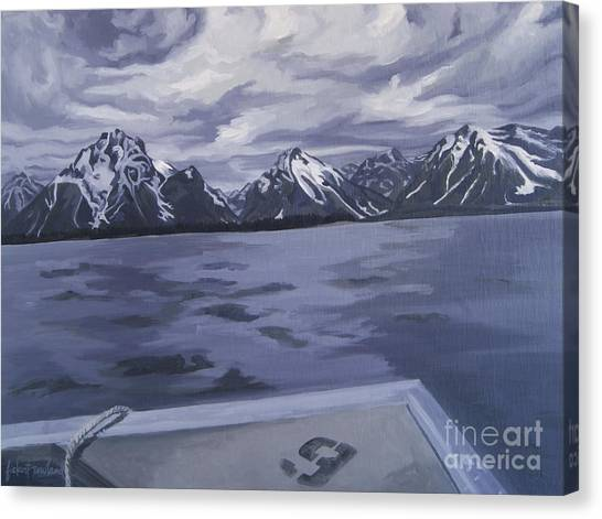 Canvas Print featuring the painting Boating Jenny Lake, Grand Tetons by Erin Fickert-Rowland