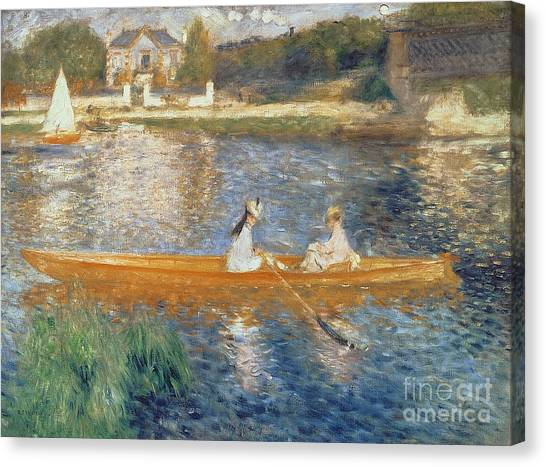 Oil On Canvas Print - Boating On The Seine by Pierre Auguste Renoir