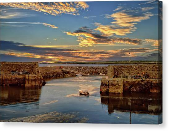 Boatman At Mullaghmore Harbour Canvas Print