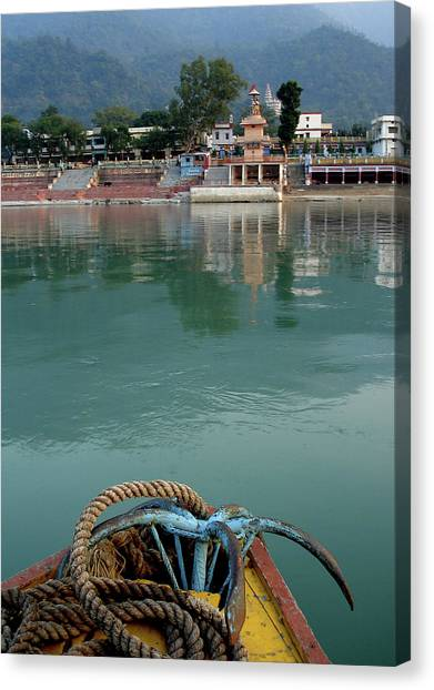Hinduism Canvas Print - Boatride Across The River Ganga At Rishikesh, India by Misentropy