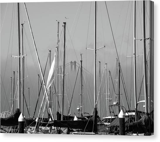 Boats And A Bridge On The Bay Canvas Print