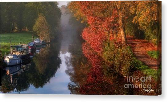 Boats And Channel Canvas Print