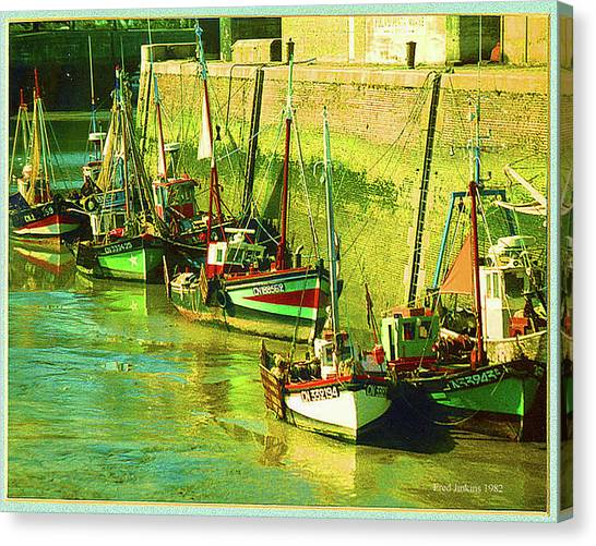 Boats At Honfluer France Canvas Print by Fred Jinkins