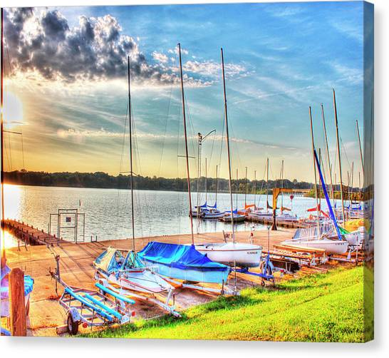 Boats At Lake Decatur Canvas Print by Ann Higgens