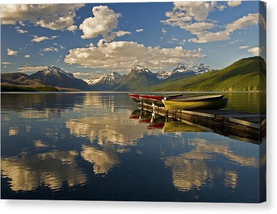 Boats At Lake Mcdonald Canvas Print