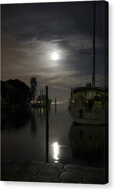Boats At Moon Rise Canvas Print