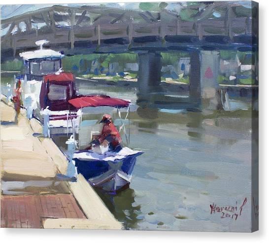 Yachts Canvas Print - Boats At North Tonawanda Canal by Ylli Haruni