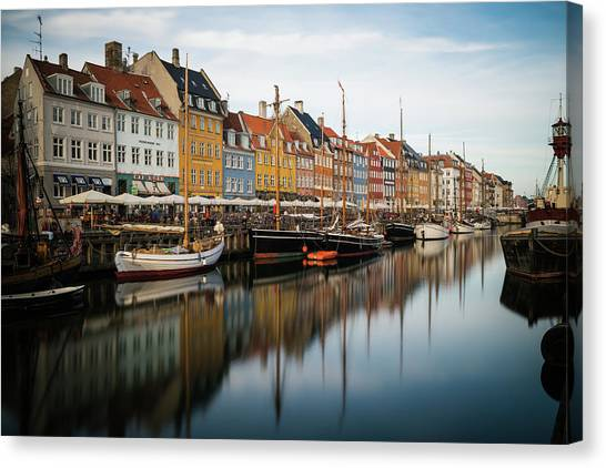 Boats At Nyhavn In Copenhagen Canvas Print