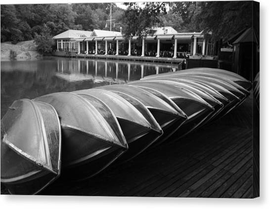 Boats At The Boat House Central Park Canvas Print