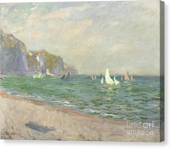Sail Boats Canvas Print - Boats Below The Cliffs At Pourville by Claude Monet