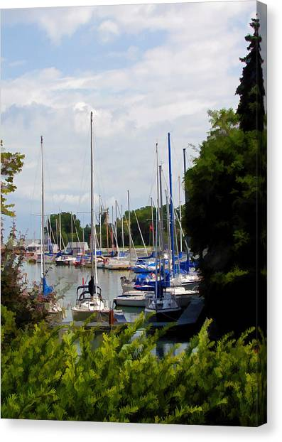 Boats In Harbour Canvas Print by Art Tilley