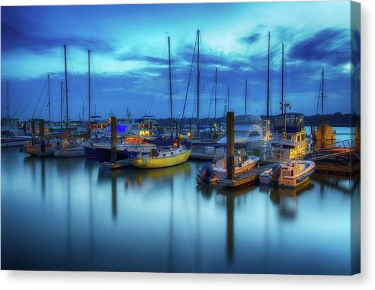 Boats In The Bay Canvas Print