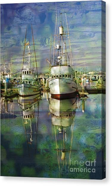 Boats In The Harbor Canvas Print by Ronald Hoggard