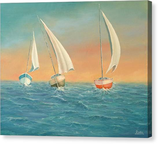 Boats In The Sea Canvas Print