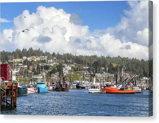 Boats In Yaquina Bay Canvas Print