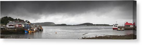 Boats Moored In The Harbor Oban Canvas Print