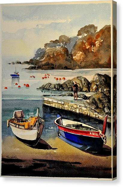 Boats Of Calella Spain Canvas Print