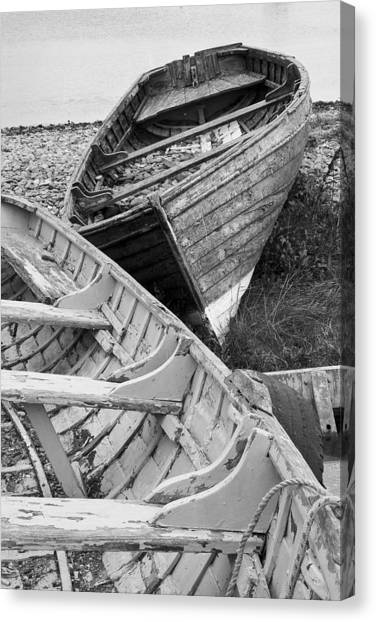 Boats On Beach - Greystones Harbour Canvas Print by Gary Rowe