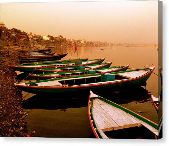 Ganges Canvas Print - Boats On The Ganges India by Matt Mather