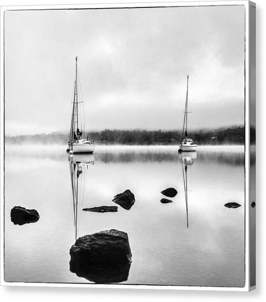 Boats On Ullswater In The Lake District Canvas Print