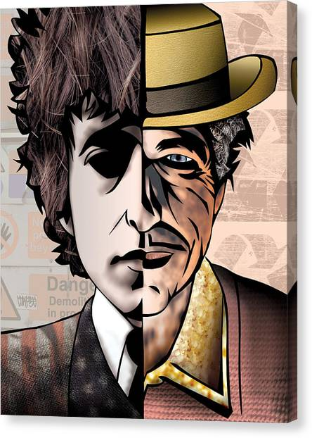 Folk Art Canvas Print - Bob Dylan - Man Vs. Myth by Sam Kirk