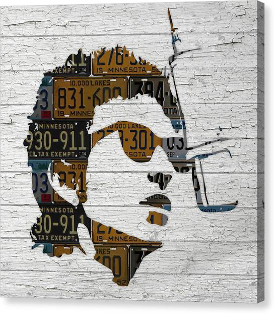 Bob Dylan Canvas Print - Bob Dylan Minnesota Native Recycled Vintage License Plate Portrait On White Wood by Design Turnpike
