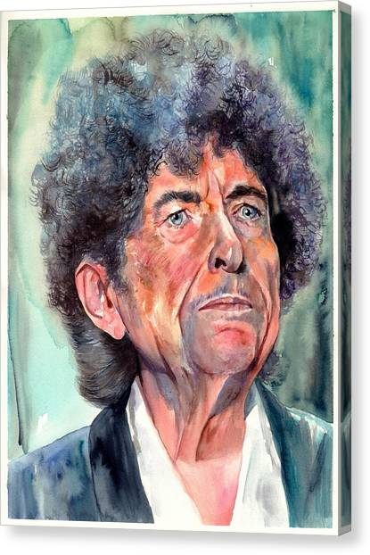 Johnny Cash Canvas Print - Bob Dylan Watercolor Portrait  by Suzann's Art