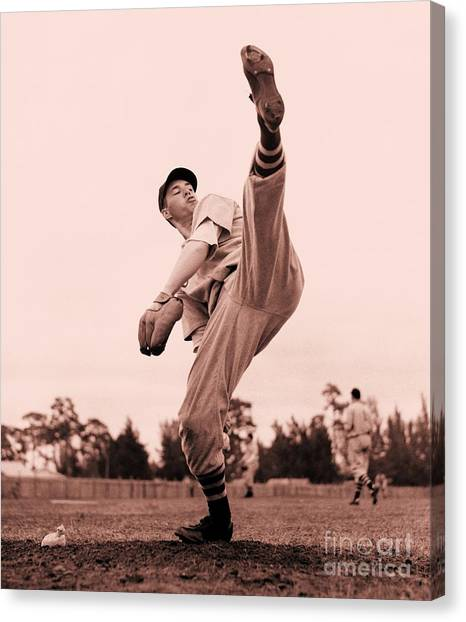 Cleveland Indians Canvas Print - Bob Feller by Pg Reproductions