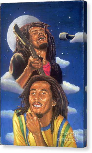 Bob Marley A Reflection Of  His Music Canvas Print by Sandra Pryer
