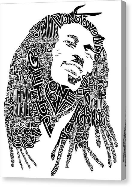 Bob Marley Black And White Word Portrait Canvas Print by Inkpaint Wordplay