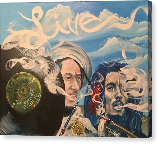 Bob Marley - Perpetual High Canvas Print by Sean Ivy aka Afro Art Ivy