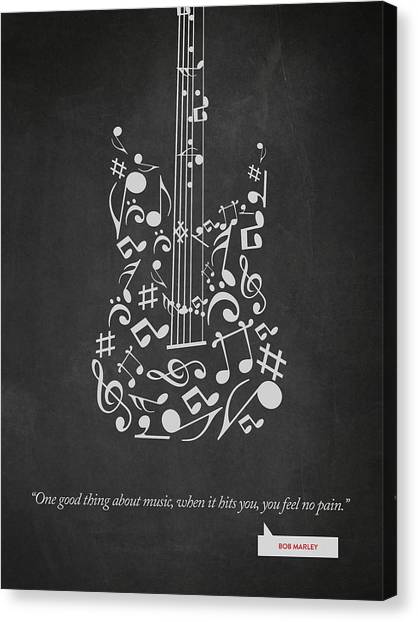 Music Inspired Art Canvas Print - Bob Marley Quote - One Good Thing About Music... 02 by Aged Pixel