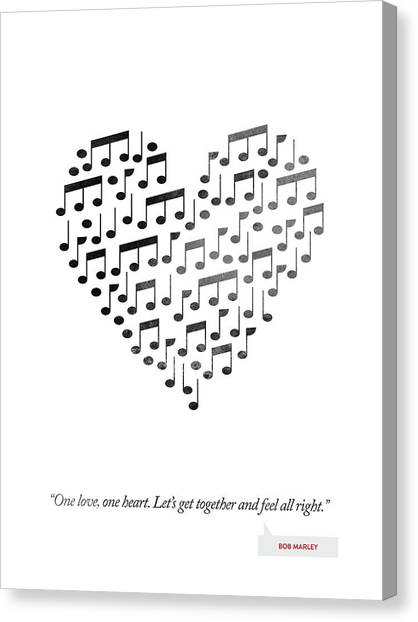 Music Inspired Art Canvas Print - Bob Marley Quote - One Love, One Heart ... by Aged Pixel