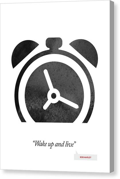 Clock Canvas Print - Bob Marley Quote - Wake Up And Live by Aged Pixel