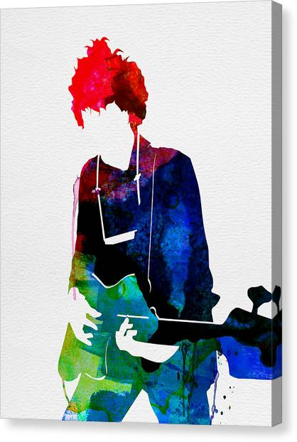 Classical Guitars Canvas Print - Bob Watercolor by Naxart Studio